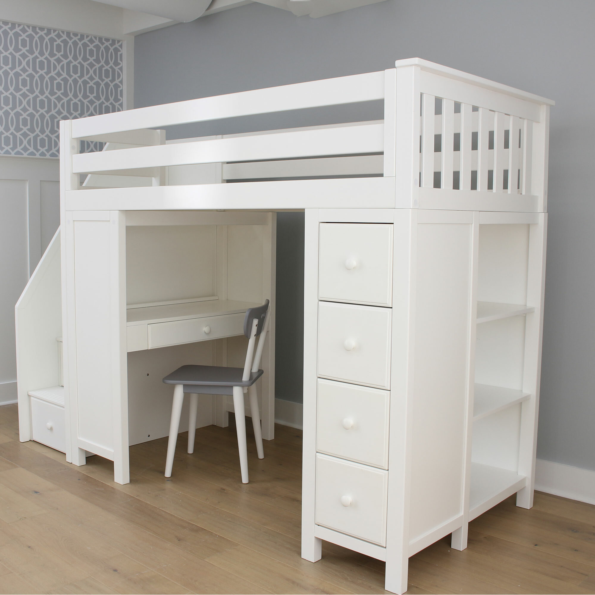Twin Loft Bed.Deshotel Staircase Combo Twin Loft Bed