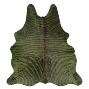 Affordable Pankey Zebra Hand-Woven Cowhide Green/Black Area Rug ByBloomsbury Market