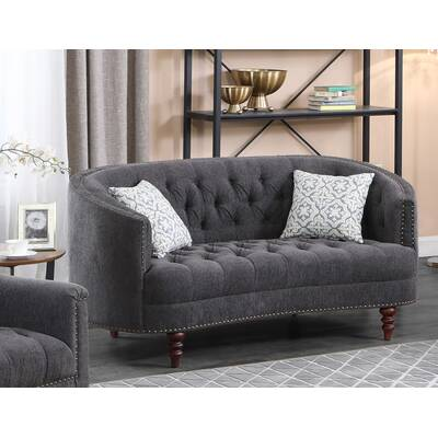 One Allium Way Fricke Chesterfield 64 Recessed Arm Loveseat Wayfair