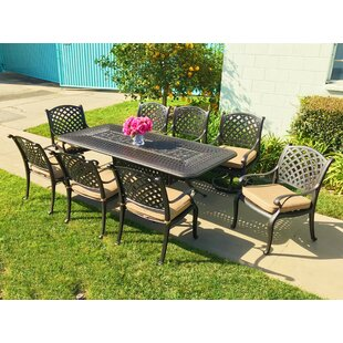 Beadle 9 Piece Sunbrella Dining Set with Cushions