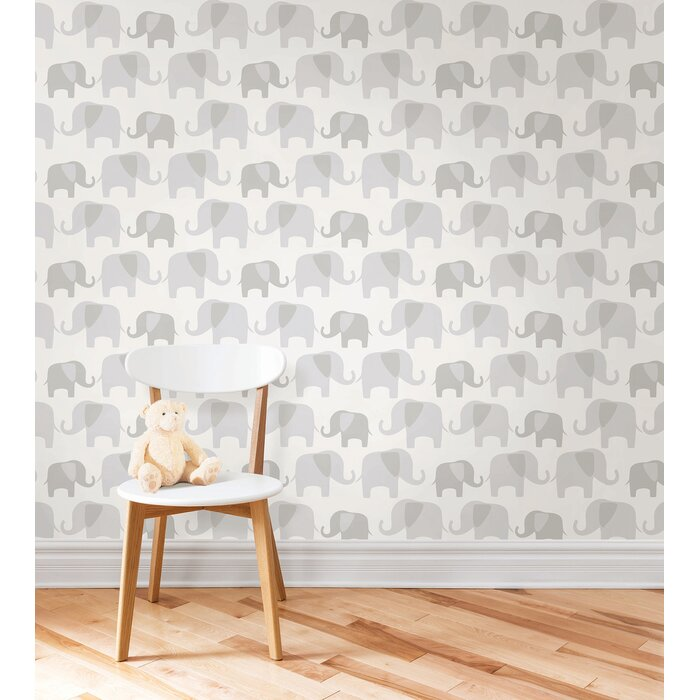 Gray Elephant Parade Wallpaper Roll