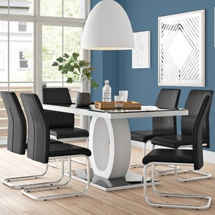 Reculver High Gloss Dining Set With 6 Chairs By Wade Logan