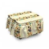 African Historic Border 2 Piece Box Cushion Ottoman Slipcover Set by East Urban Home