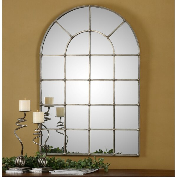 Window Wall Mirror one allium way metal arch window wall mirror & reviews | wayfair