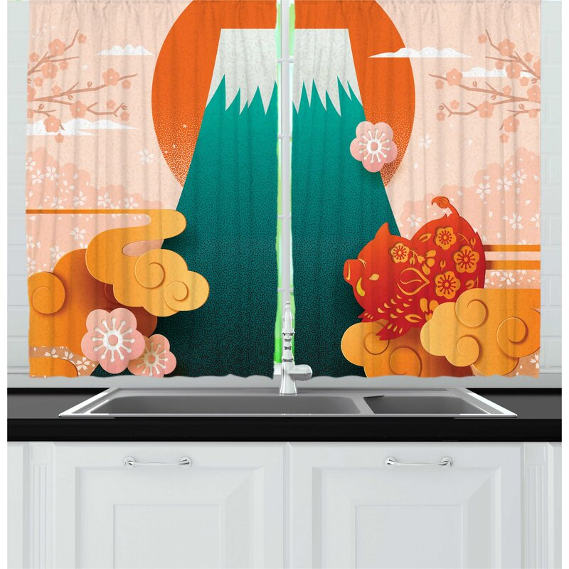East Urban Home 2 Piece Japanese Folkloric Graphic With Themed Doodle Clouds Mountain Pig Cherry Blossom Kitchen Curtain Set Wayfair