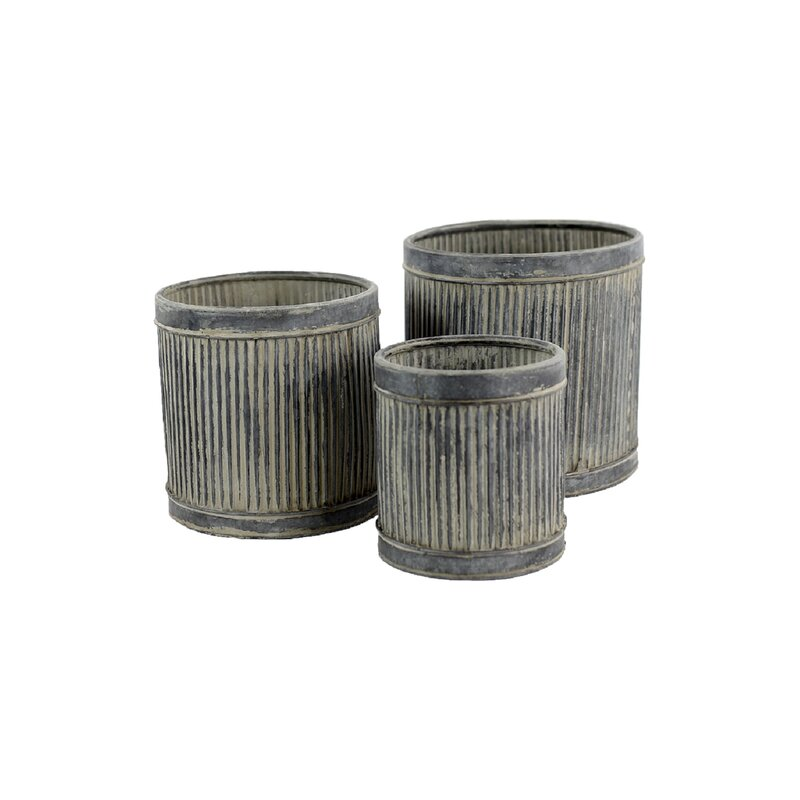 Gracie Oaks Barclee 3 Piece Metal Pot Planter Set Reviews Wayfair