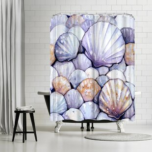 Sam Nagel Scallop Shells Amethyst Single Shower Curtain