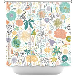 Birds And Flowers Single Shower Curtain