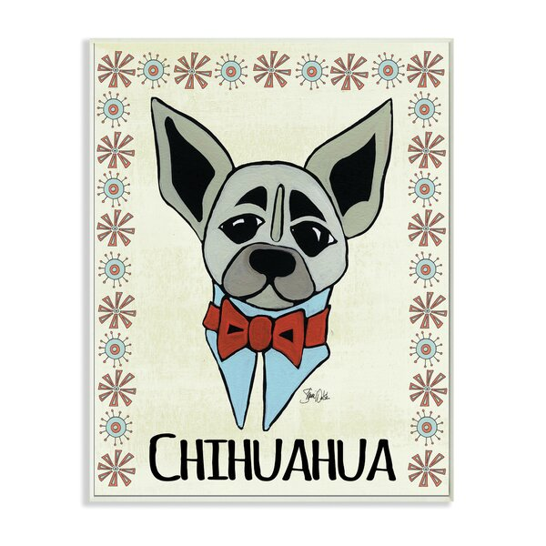 Stupell Industries Whimsical Chihuahua Wearing Bow Tie Graphic Art Print Wayfair