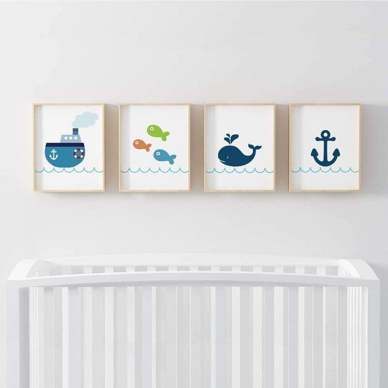 Harriet Bee Desern Ocean Theme Boat Anchor Fish Whale 4 Piece Set Paper Print Wayfair