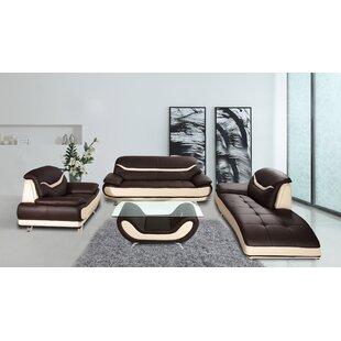 Danes 3 Piece Leather Living Room Set by Orren Ellis