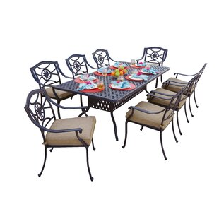 Alcott Hill Thompsontown 9 Piece Powder-Coated Dining Set with Cushions