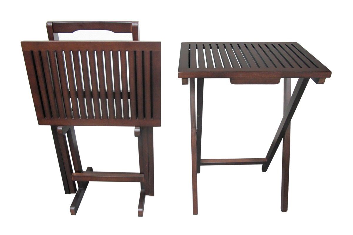 Mahogany 3 Piece Tray Table Set