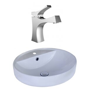 Shop For Ceramic Circular Vessel Bathroom Sink with Faucet and Overflow By American Imaginations