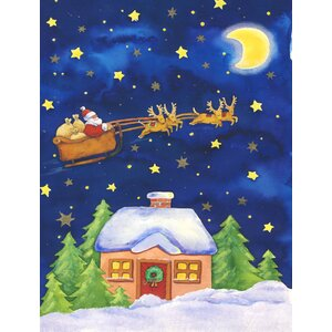 Christmas Santa Claus Across the Sky 2-Sided Garden Flag