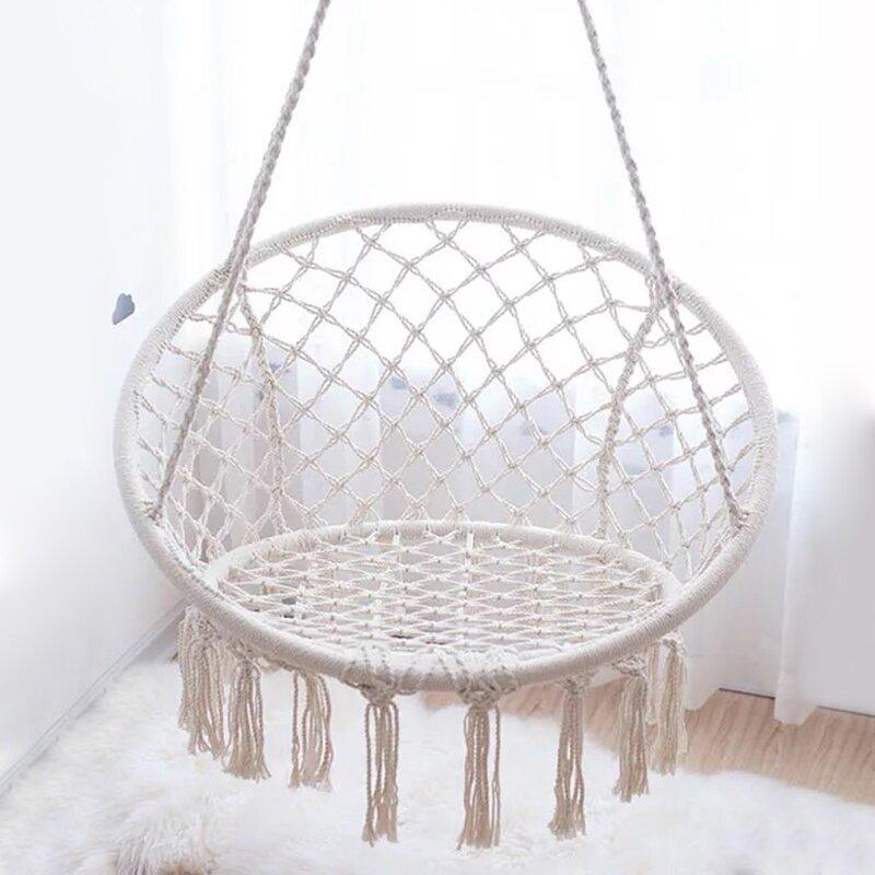 Bungalow Rose Beige Hanging Cotton Rope Macrame Hammock Chair Swing Outdoor Home Garden Decor Wayfair Ca