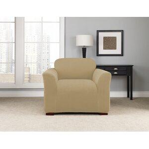 Stretch Modern Chevron Box Cushion Armchair Slipcover