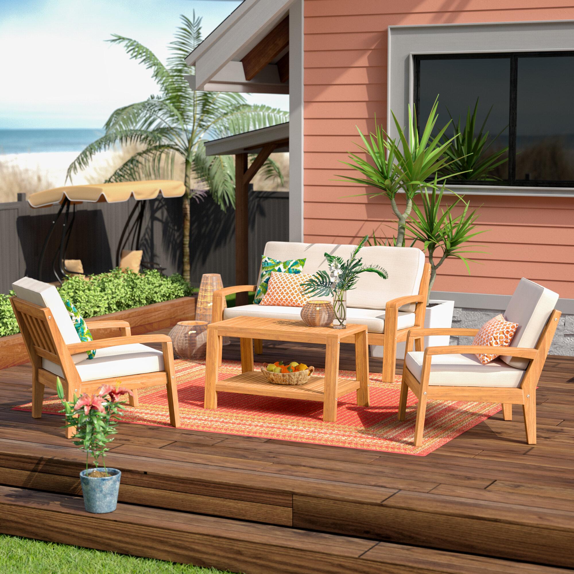 Highland dunes gaia 4 piece sofa set with cushions reviews wayfair