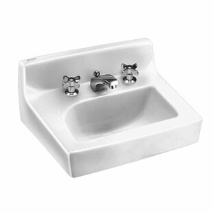 Best Choices Penlyn Ceramic 18 Wall Mount Bathroom Sink with Faucet and Overflow ByAmerican Standard