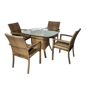 Highland Dunes Hardage 5 Piece Dining Set with Cushions