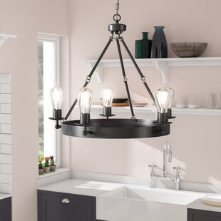 Best Reviews Hines 5-Light Wagon Wheel Chandelier By Trent Austin Design
