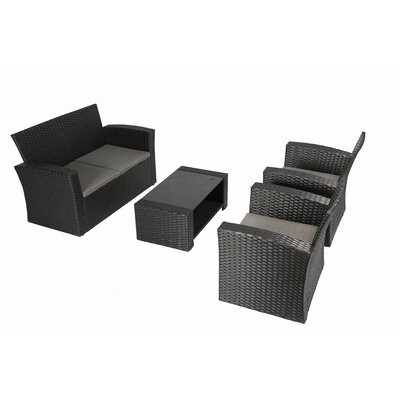 Bay Isle Home Reordan 4 Pieces Sofa Set with Cushions Frame Color: Black