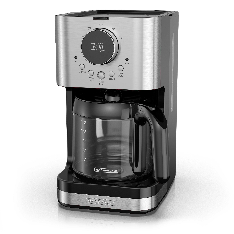 Coffee Maker Machine LED Control Panel 12 Cups Black Digital Clock Programmable