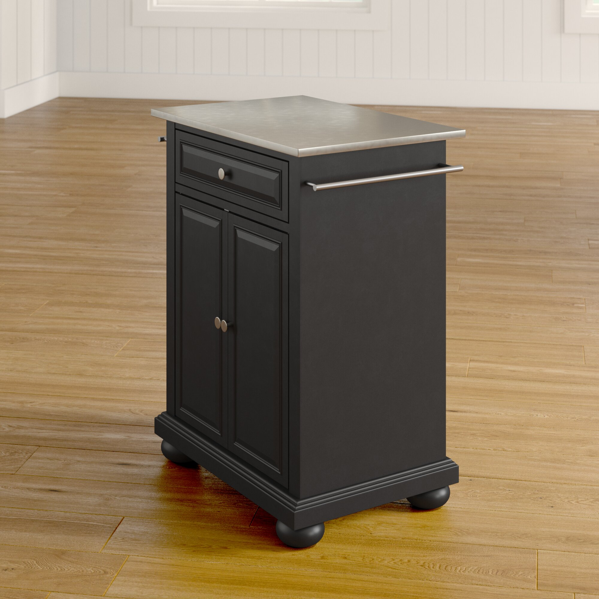 Three Posts Hedon Kitchen Cart With Stainless Steel Top Reviews Wayfair