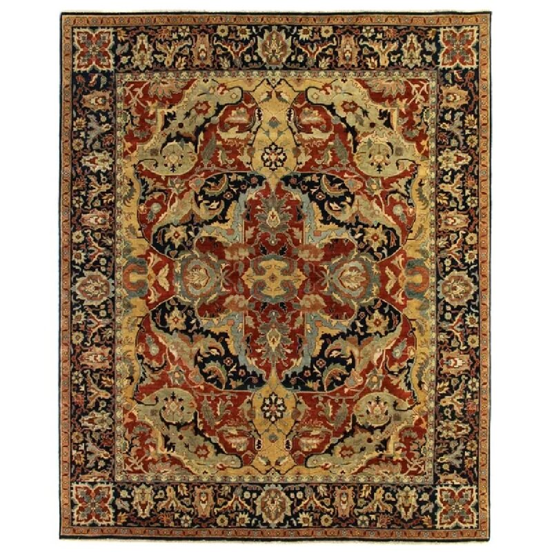 Exquisite Rugs Polonaise Oriental Hand Knotted Wool Red Blue Dark Brown Area Rug Perigold