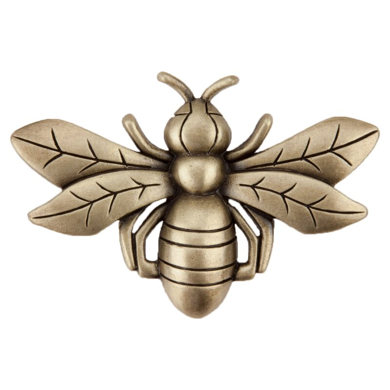 4 x Cute Golden Gold Bumble Bee Metal Knob for Cupboards Pull Doors, Handle