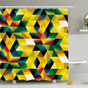 Modern Art Home Trippy Dimensional Geometric and Triangles Futuristic Design Shower Curtain Set