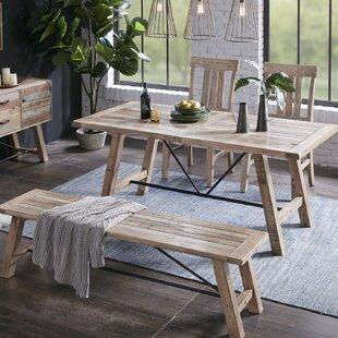 Maiorano 4 Piece Solid Wood Dining Set