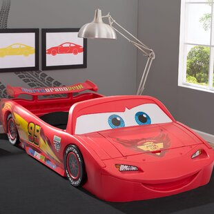 Disney/Pixar Cars Lightning Mcqueen Car Bed with Lights and Toy Box By Delta Children