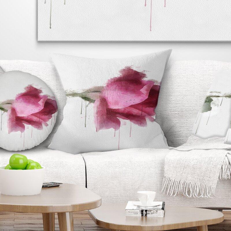 East Urban Home Floral Beautiful Rose Watercolor Drawing Pillow Wayfair