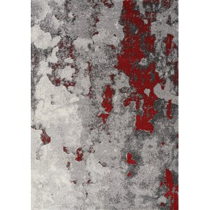 Atticus Abstract Expression Gray/Red Area Rug