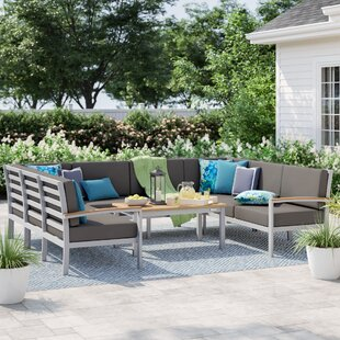 Caspian 5 Piece Sectional Seating Group with Cushions by Sol 72 Outdoor