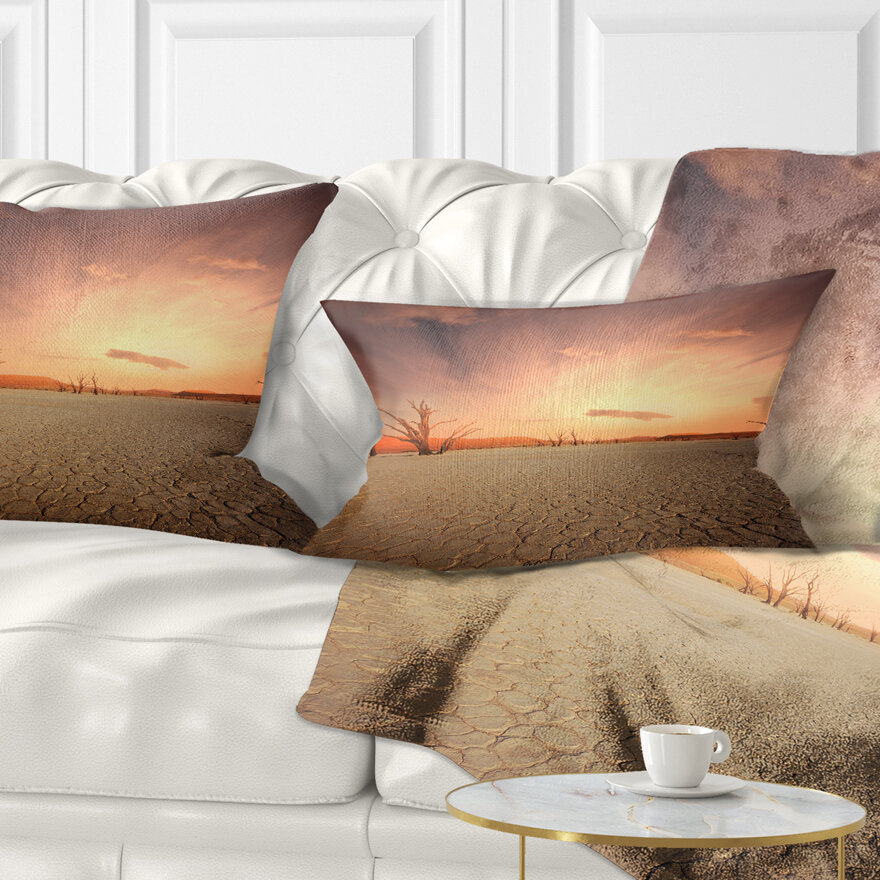East Urban Home African Landscape Printed Namib Desert Beautiful Cracked Land Lumbar Pillow Wayfair