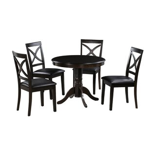 Dion 5 Piece Solid Wood Dining Set by Alcott Hill Bargain