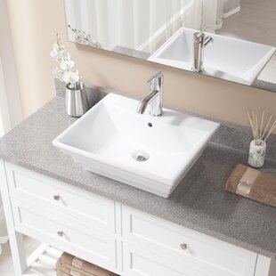 Best Reviews Vitreous China Rectangular Vessel Bathroom Sink with Faucet and Overflow ByMR Direct