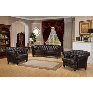 17 Stories Irina 3 Piece Leather Living R..