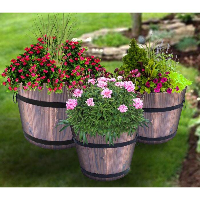 Gardenised Whiskey Wooden Barrel Planter Set Of 3 Wayfair Ca