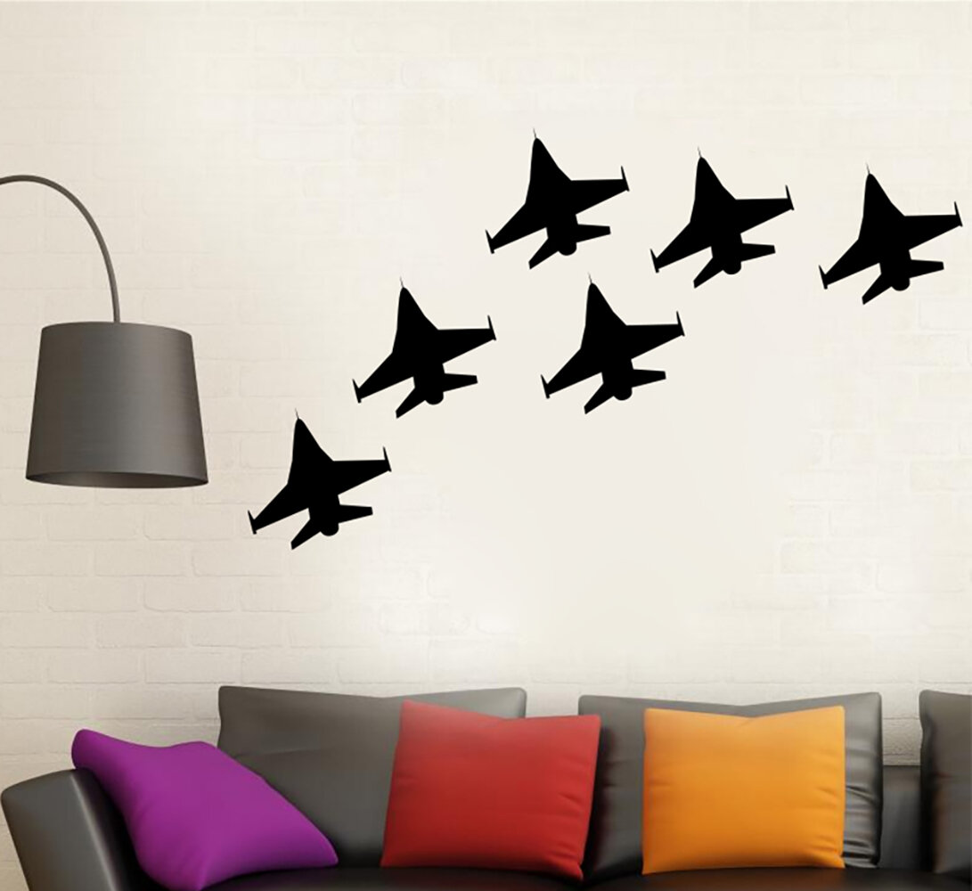 Williston Forge Fighter Jet Airplanes Silhouette Vinyl Words Wall Decal Wayfair