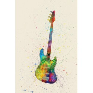 Musical Instrument Series: Electric Bass Guitar Graphic Art On Wrapped  Canvas