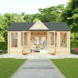 Pool House 18 X 13 Ft. Tongue & Groove Log Cabin By Sol 72 Outdoor