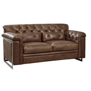 Ilario Tufted Leather Loveseat by 17 Stor..