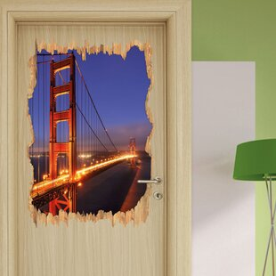 Golden Gate Bridge In San Francisco At Night Wall Sticker By East Urban Home