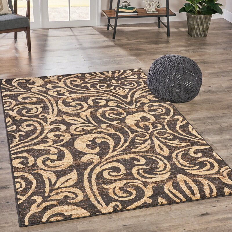 Alcott Hill Acosta Abstract Beige/Brown Area Rug, Size: Rectangle 710 x 10