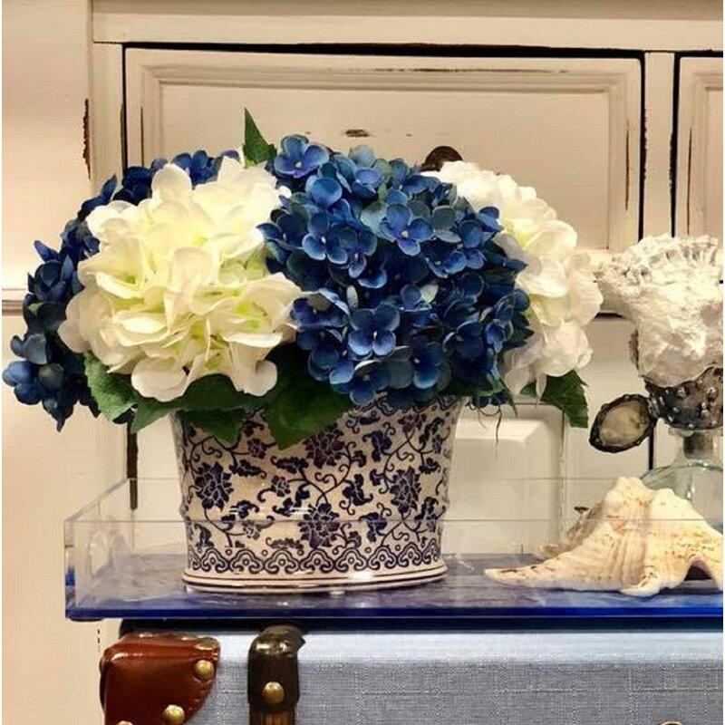 Alcott Hill Hydrangea Floral Arrangement In Pot Reviews Wayfair