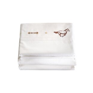 Loon Peak Hannes 4 Piece Embroidered Horse 200 Thread Count 100% Cotton Sheet Set
