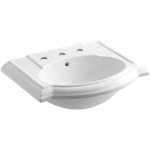 Devonshire® Ceramic 24 Pedestal Bathroom Sink with Overflow Kohler